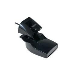 Transductor Garmin de montaje en espejo de popa de plástico con sensores de profundidad y temperatura (frecuencia dual, 6 pines)